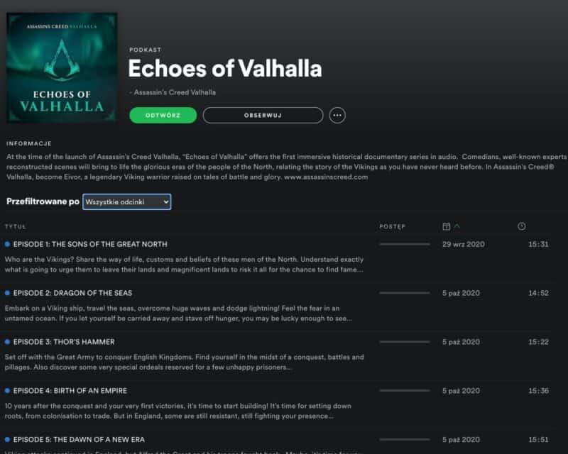 Zrzut ekranu ze Spotify, podcast Echoes of Valhalla