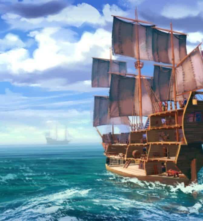 Her Majesty's Ship okręt pod pełnymi żaglami