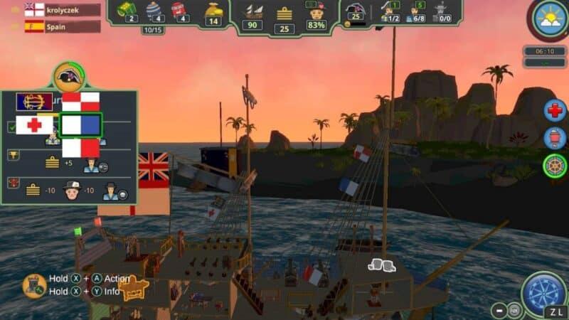 Her Majesty's Ship zachód słońca, widok na nieczytelne flagi zdarzeń zasłaniające podpowiedzi