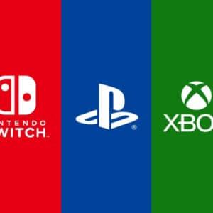 Logo Nintendo Switch, Playstation i Xbox.
