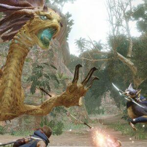 Postacie i potwór z gry Monster Hunter Rise