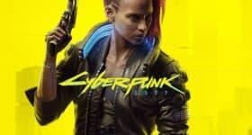 Postać z gry Cyberpunk na plakacie promującym