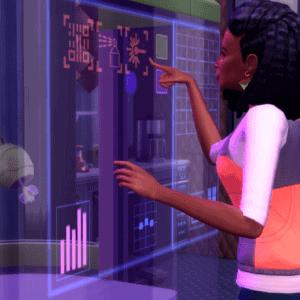 Simka używająca maszyny z dodatku Życie Eko w Sims 4