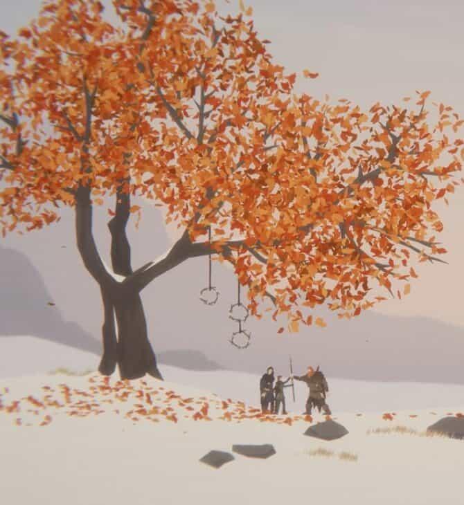 Bohater Unto The End z żoną i synem, pod drzewem, śnieżny krajobraz