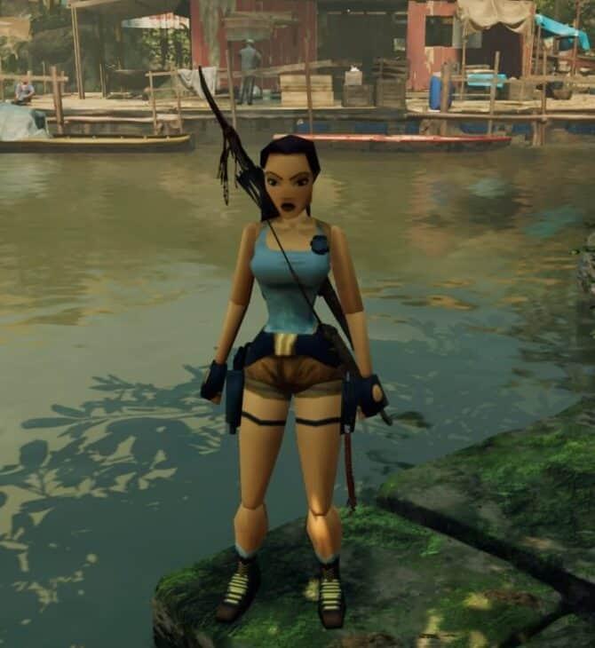 Print Screen z gry Shadow of the Tomb Raider, widoczna Lara Croft w skórce retro, nawiązującej do wyglądu postaci w latach 90. Obraz do artykułu o kobietach graczach nawiązujący do bohaterek dużych produkcji.