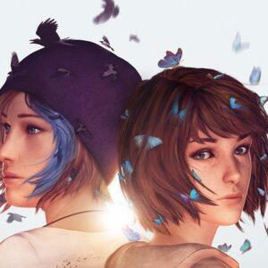 Life is Strange Max Chloe niebieskie motyle białe tło