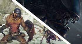 Alien: Isolation i Hand of Fate 2 za darmo, screeny z obu gier przedzielone na ukos białą linią