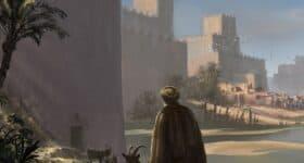 Nebuchadnezzar recenzja starzec z kozami, w tle mury miasta babilońskiego i statek na rzece