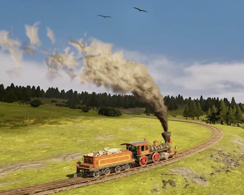 Railway Empire - kadr z gry, screen, pociąg, tory, zielona łąka