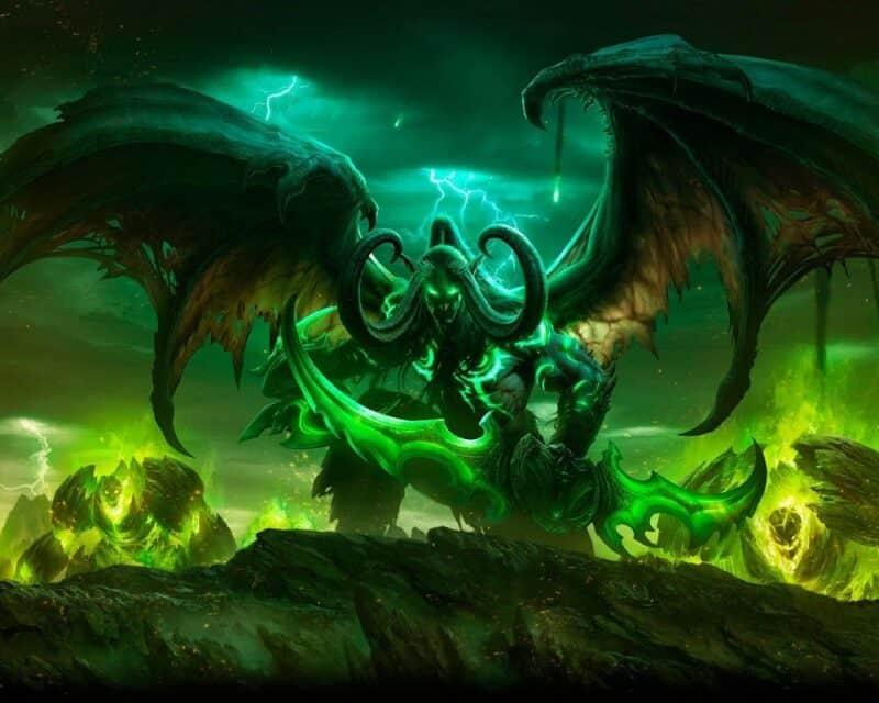 cena klonowania postaci world of warcraft classic, na grafice wielki potwór z ogromnymi skrzydłami na tle zielonoseledynowego nieba