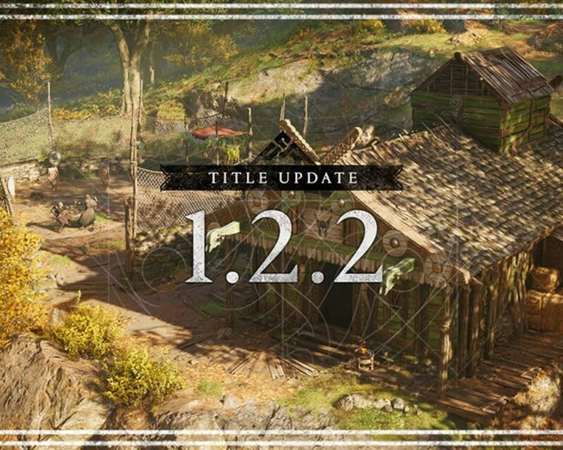 Aktualizacja 1.2.2 Assassin's Creed Valhalla, na grafice w tle wiejska chata ze strzechą na dachu, a na pierwszym planie napis z numerem aktualizacji 1.2.2