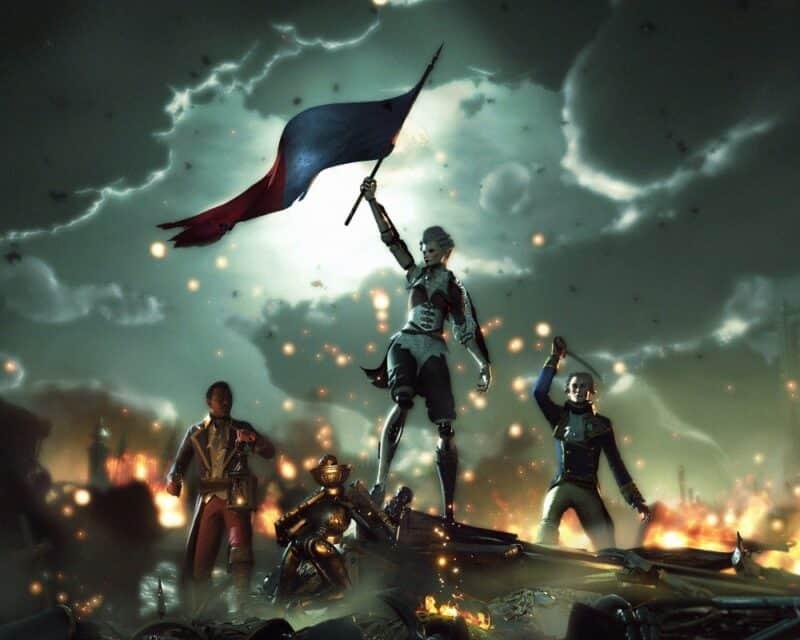 Steelrising rozgrywka na nowym zwiastunie. Ilustracja przedstawia Aegis, która triumfująco unosi flagę.