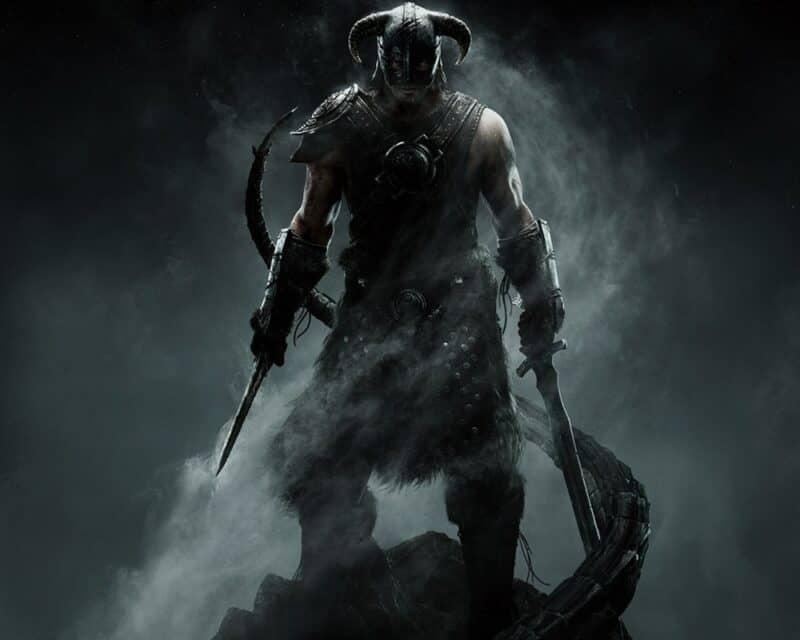 Dovahkiin na ciemnym, zadymionym tle. Lokacja z The Elder Scrolls V: Skyrim na Unreal Engine 5.