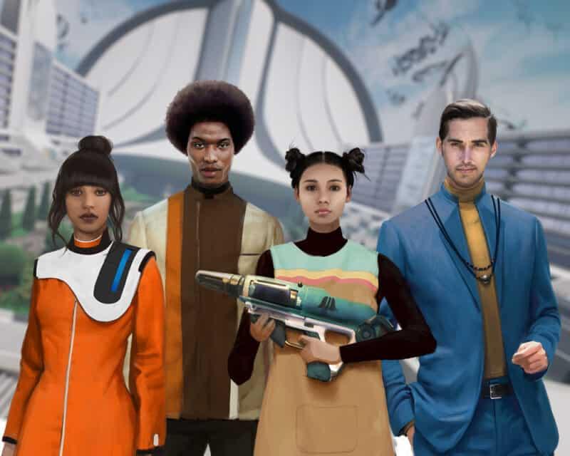 The Anacrusis zwiastun gry. Na obrazku znajdują się cztery postacie. Dwie kobiety i dwóch mężczyzn. Jedna z kobiet trzyma w ręku futurystyczną broń.